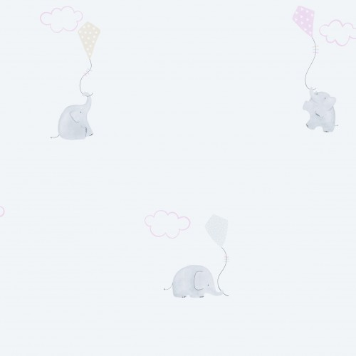 Papel pintado infantil estampado elephants rose